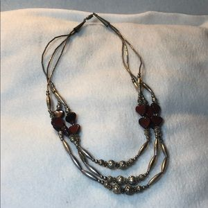 Silver Necklace with Heart Beads
